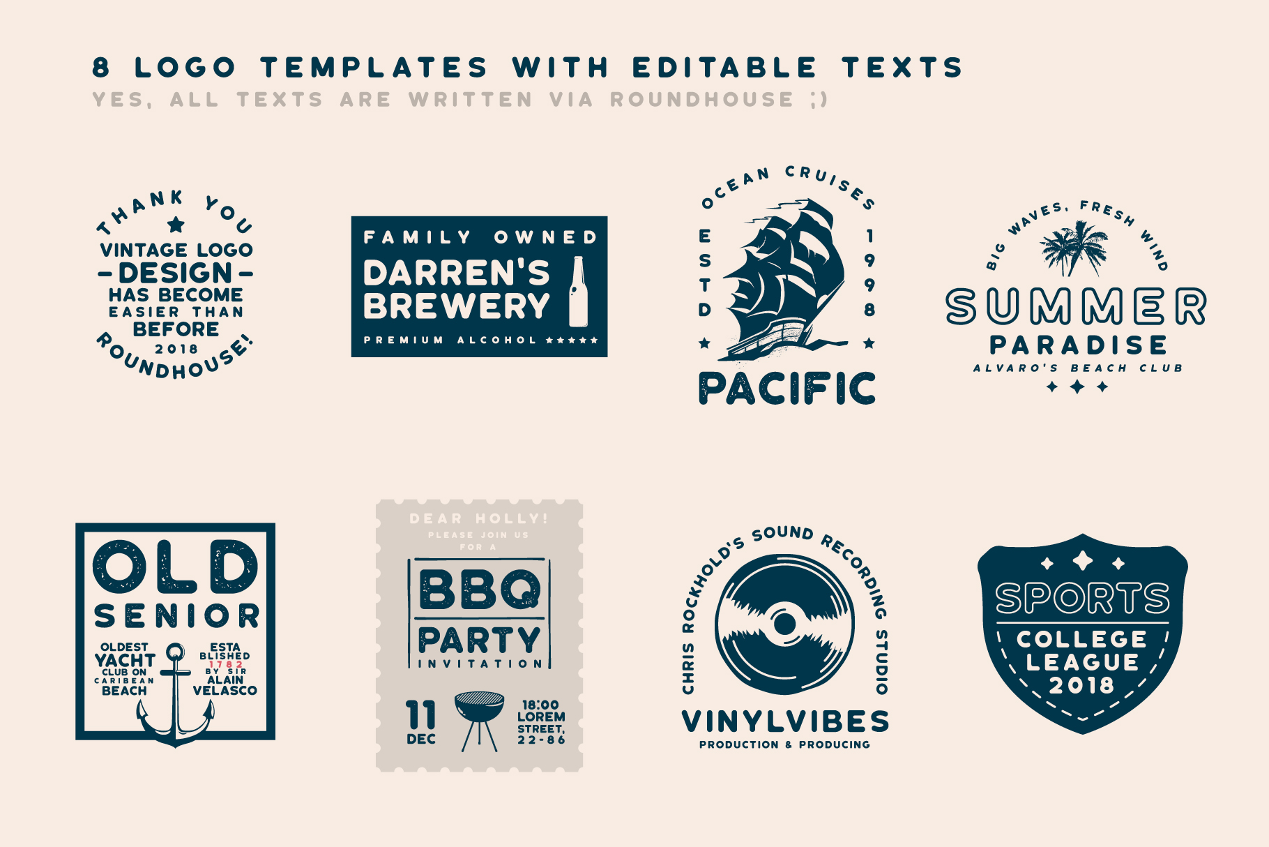 Roundhouse - Rounded Vintage Typeface example image 4
