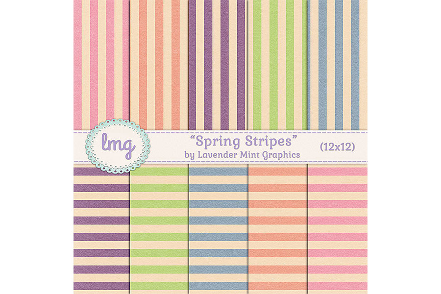 Spring Stripes Digital Scrapbook Paper example image 1