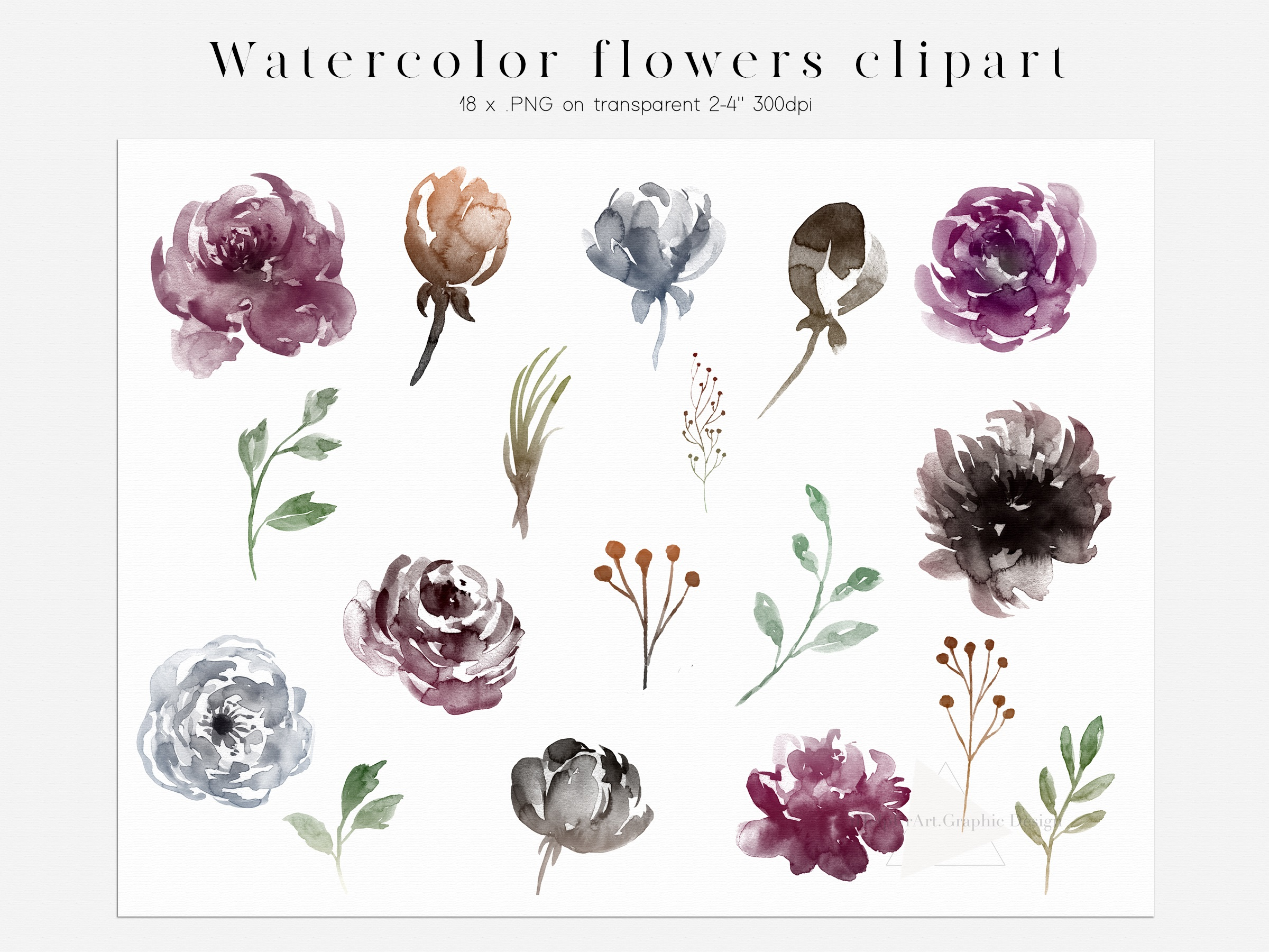 Watercolor Boho Flowers Design Bundle example image 8