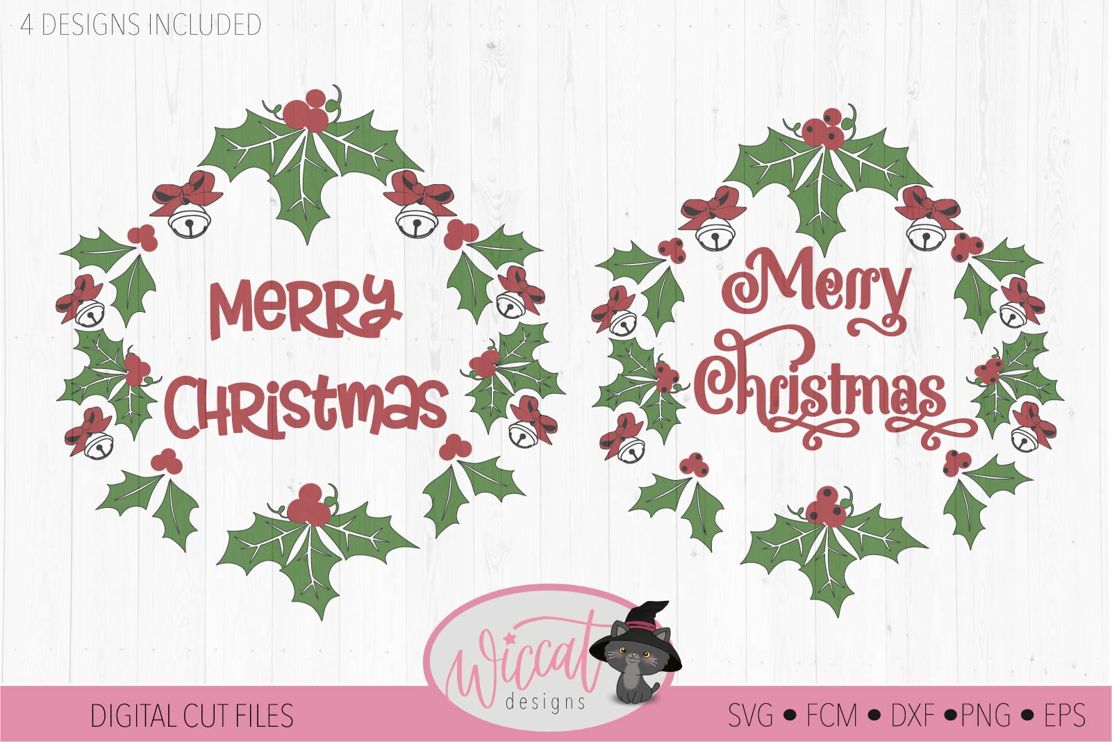 Merry Christmas wreath svg, Happy Christmas bells svg example image 1