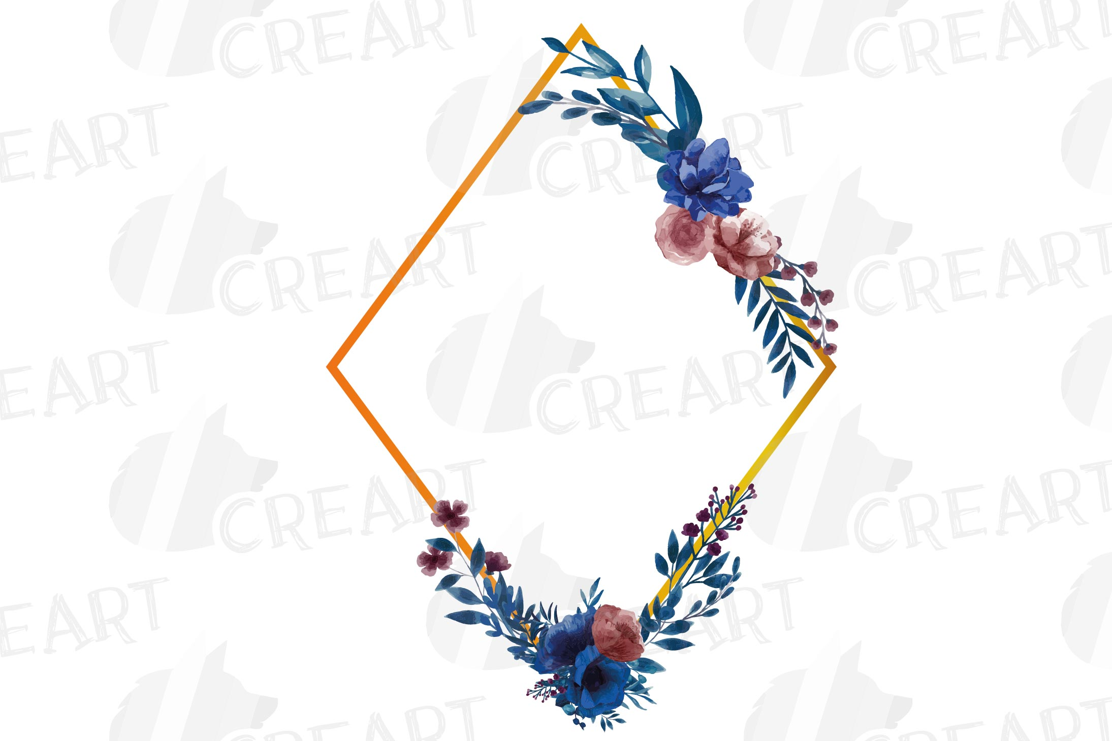 Watercolor elegant navy blue and blush floral borders vector example image 25