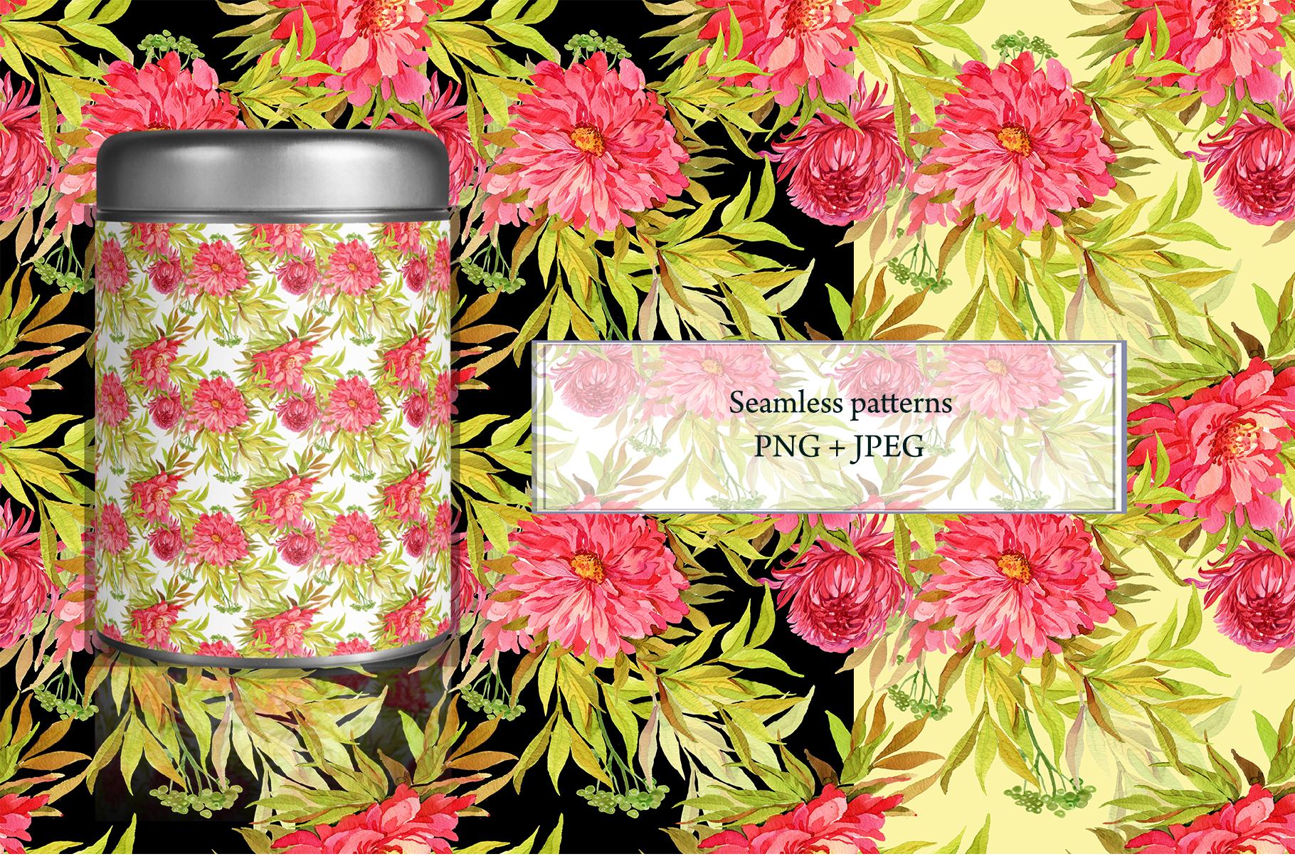 Pheasants Flowers Seamless Pattern example image 3