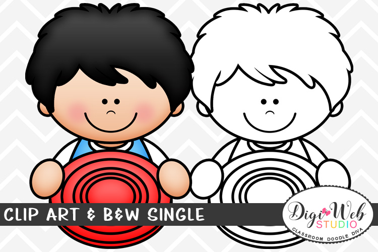 Clip Art & B&W Single - Summer Boy w/ A Frisbee Topper example image 1