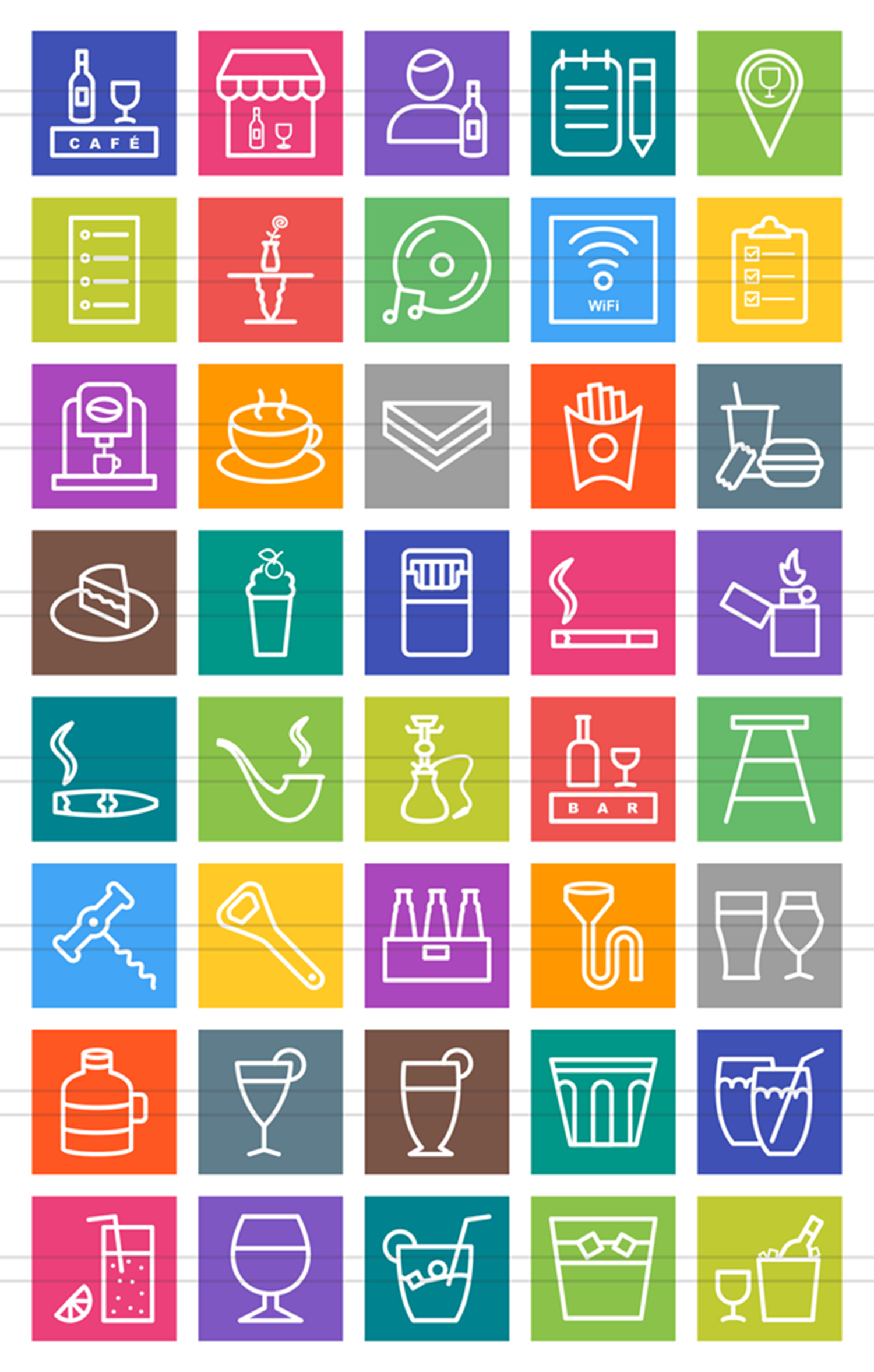 40 Cafe & Bar Line Multicolor B/G Icons example image 2