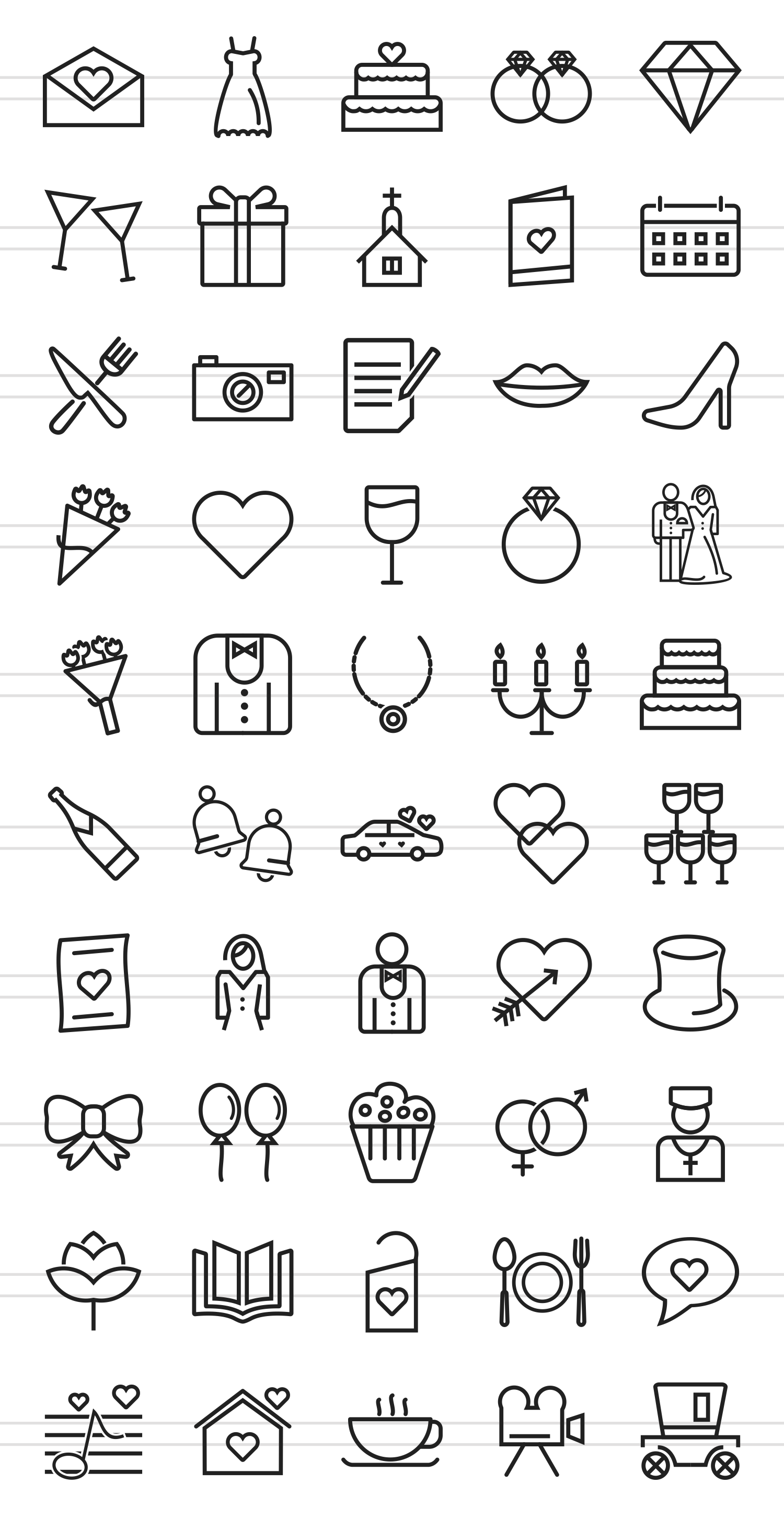 50 Wedding Line Icons example image 2