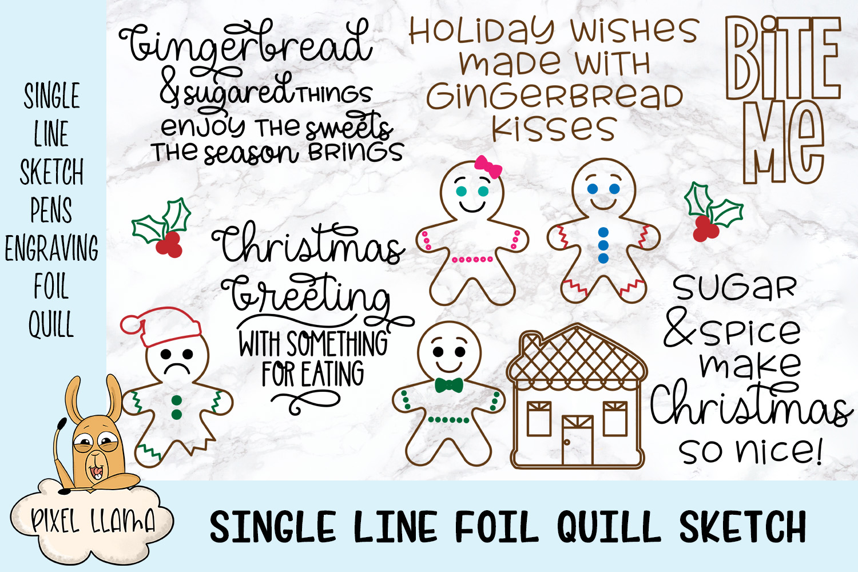 Gingerbread Bundle Single Line Sketch Designs example image 1