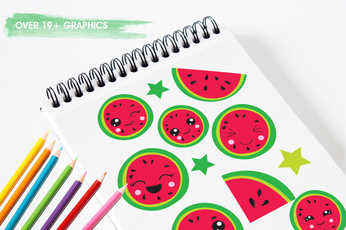 Kawaii Watermelons graphic and illustrations example image 5