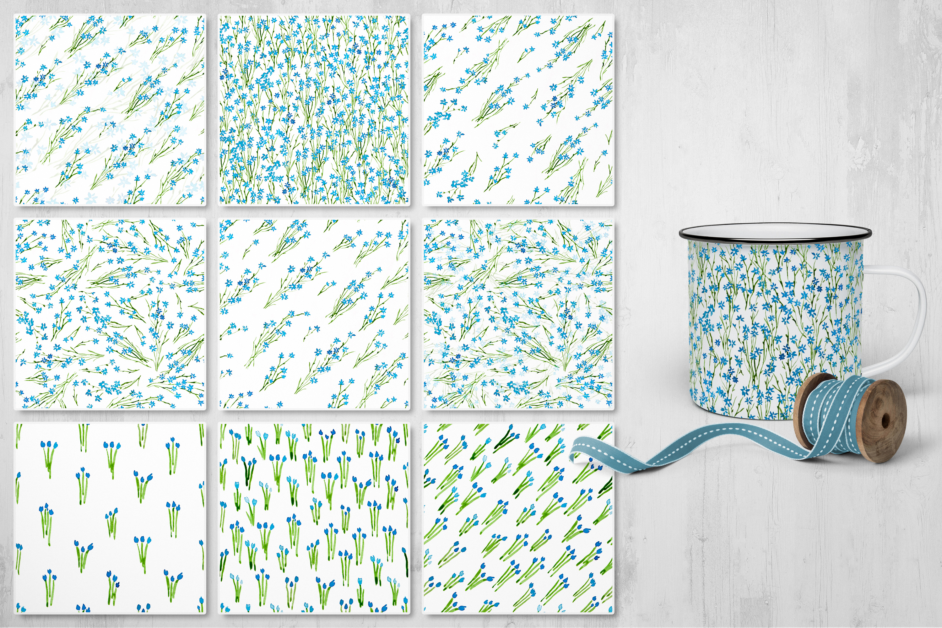 Mille Fleur - 36 watercolor patterns example image 4