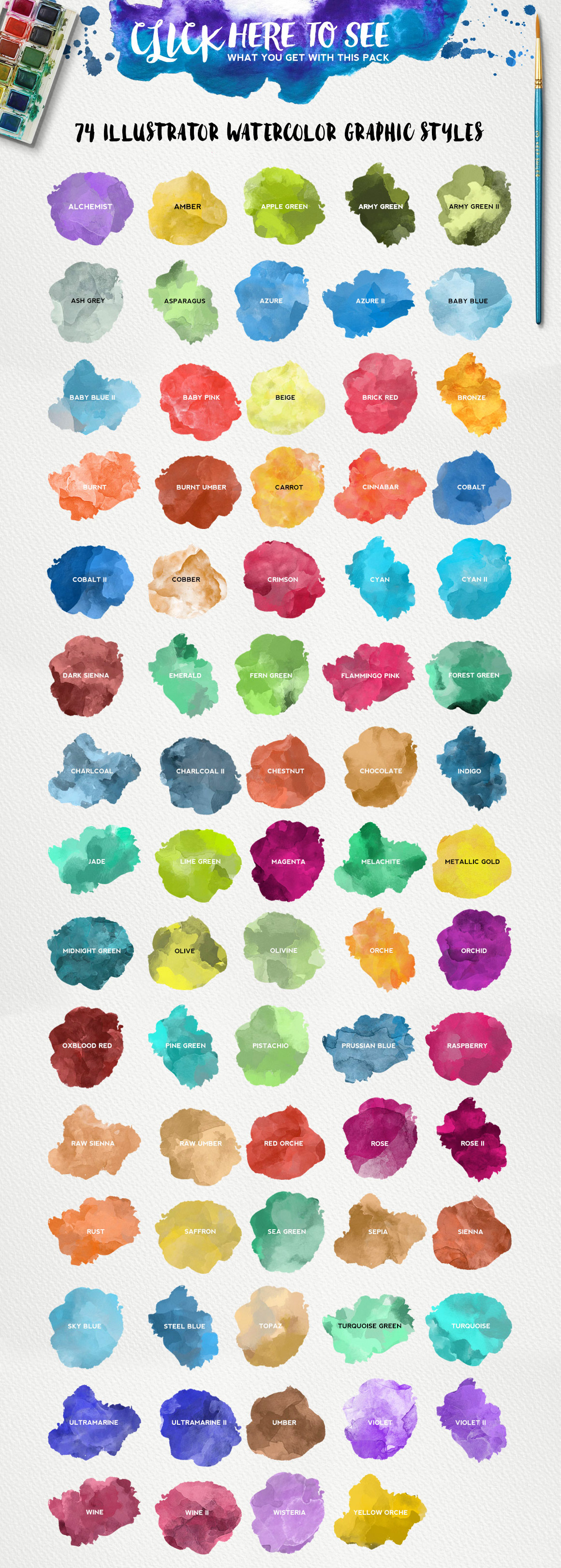 Watercolor KIT for Illustrator example image 4