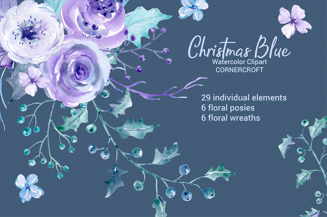 Watercolor Clip Art Christmas Blue example image 1