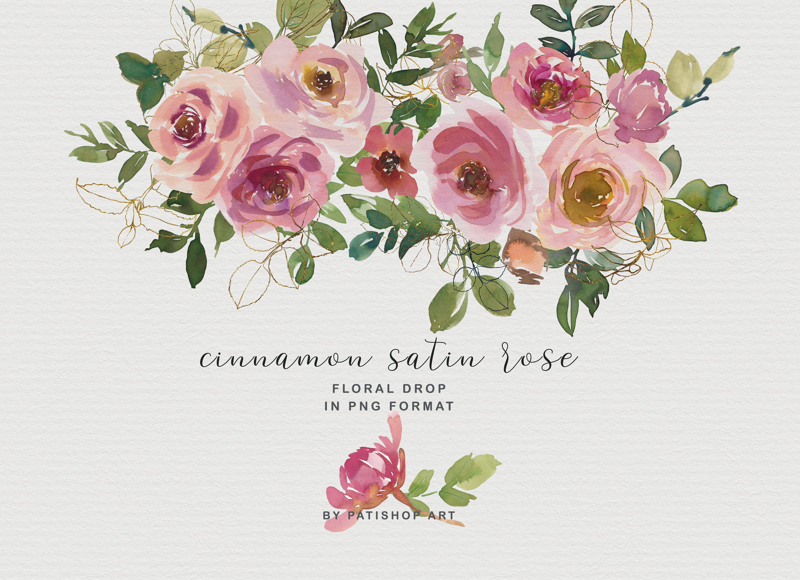 Blush and Peach Watercolor Floral Clipart Collection example image 2