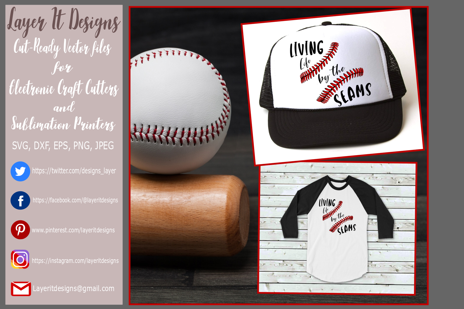 Living life by the seams baseball designs example image 1