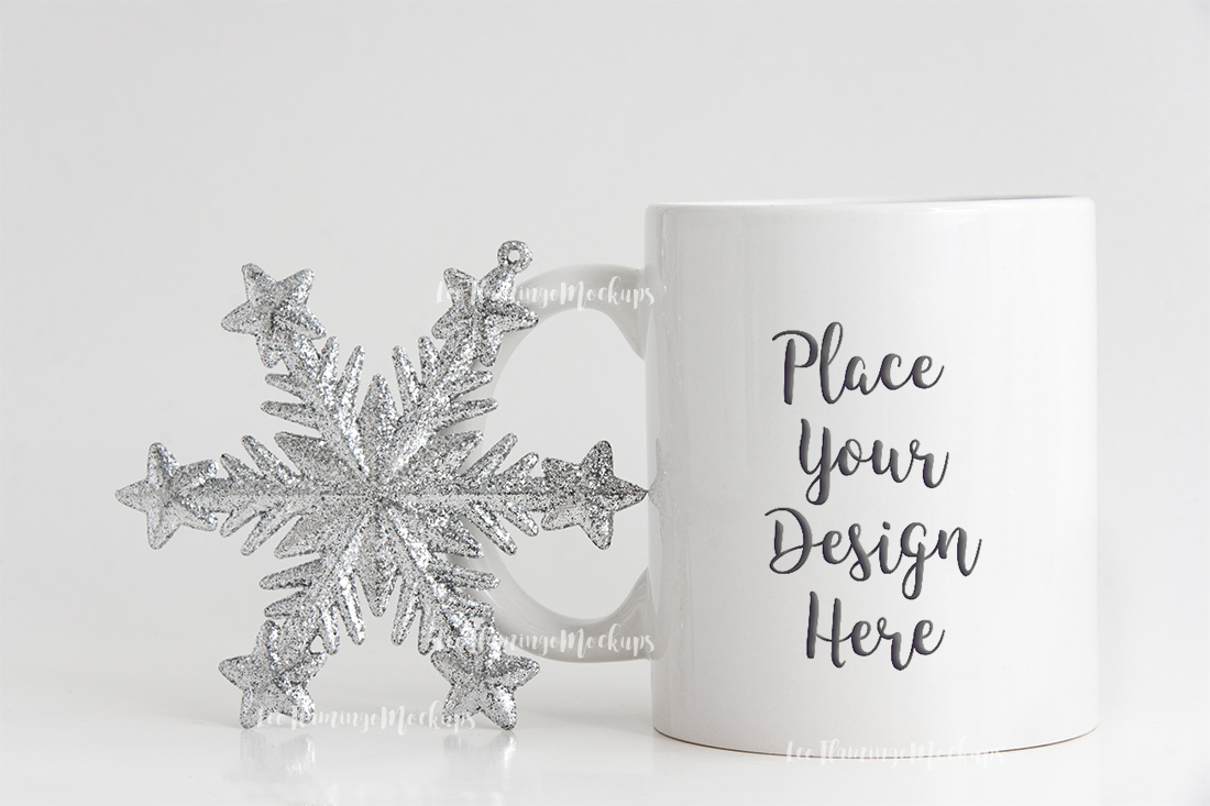 Winter white coffee mug mock up minimal  example image 6