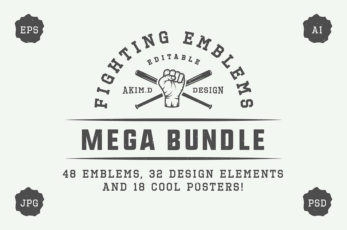 Vintage Fighting Emblems Bundle example image 1