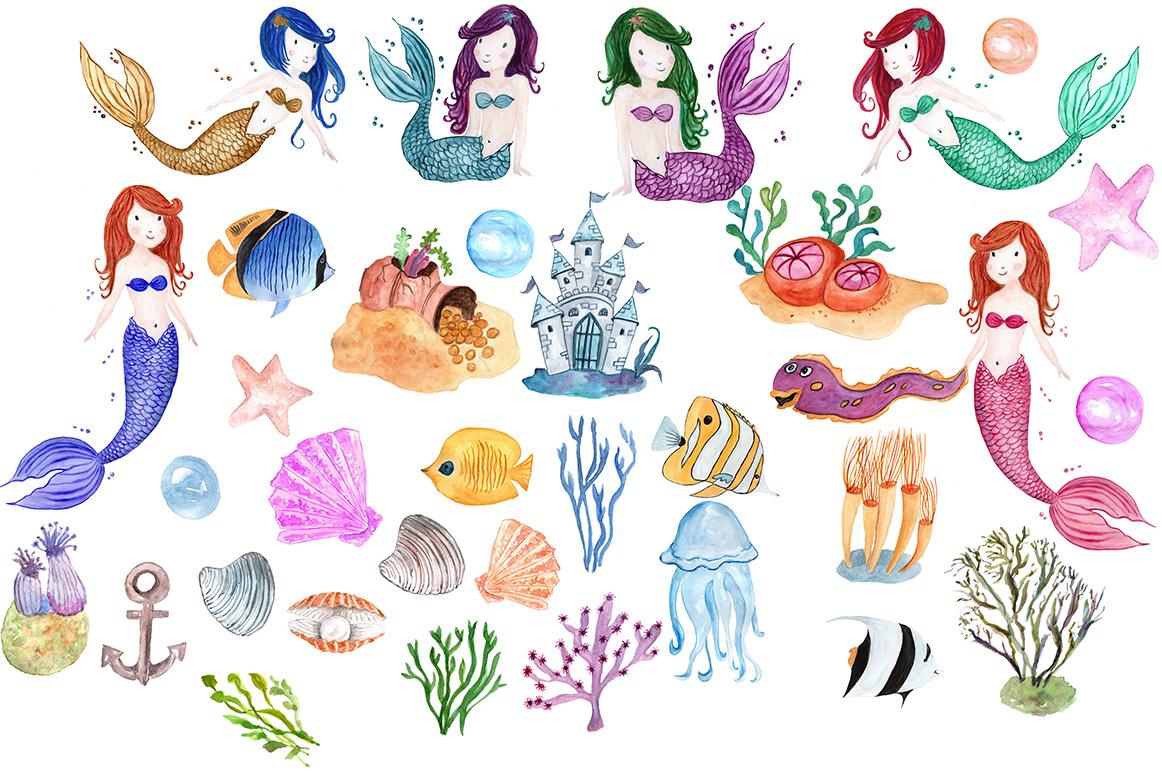 Watercolor Mermaids clip art example image 2