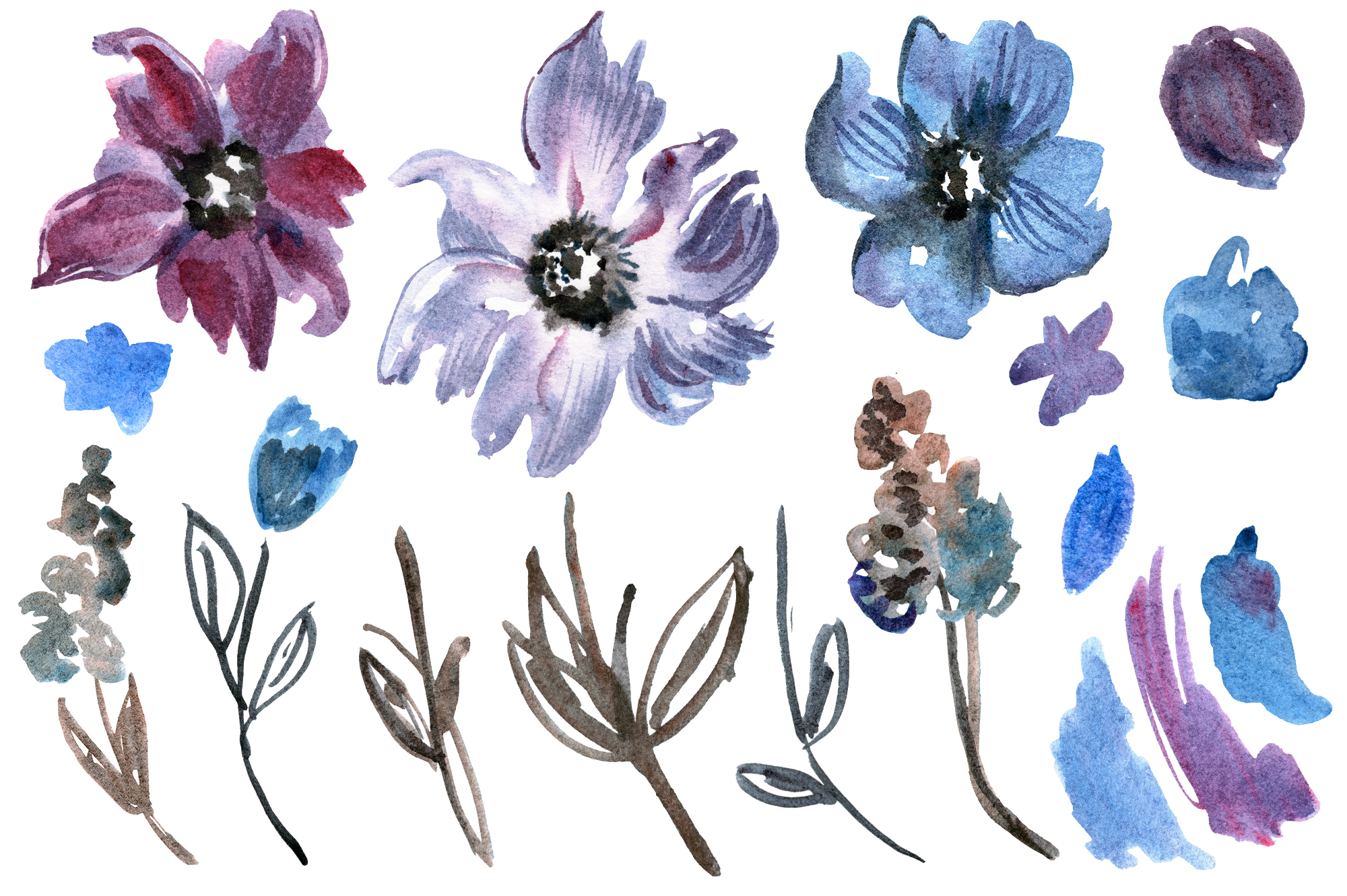 Watercolor violet flowers example image 2
