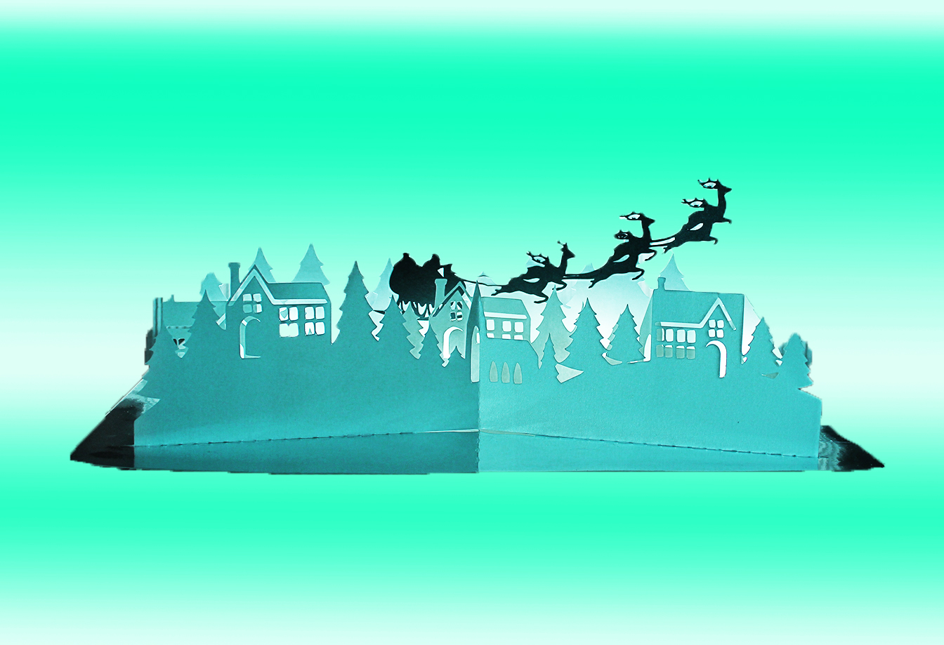 Christmas Village pop up greetings card example image 1