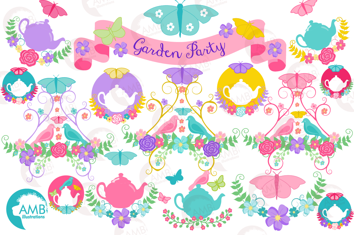 Country floral clipart, Garden party clipart example image 5