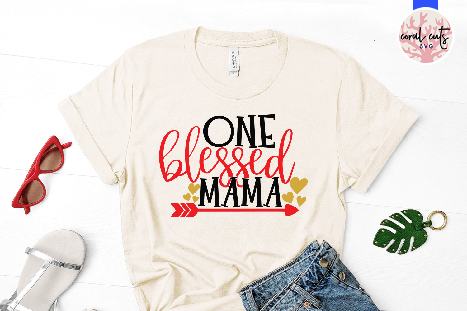One blessed mama - Mother SVG EPS DXF PNG Cutting File example image 2