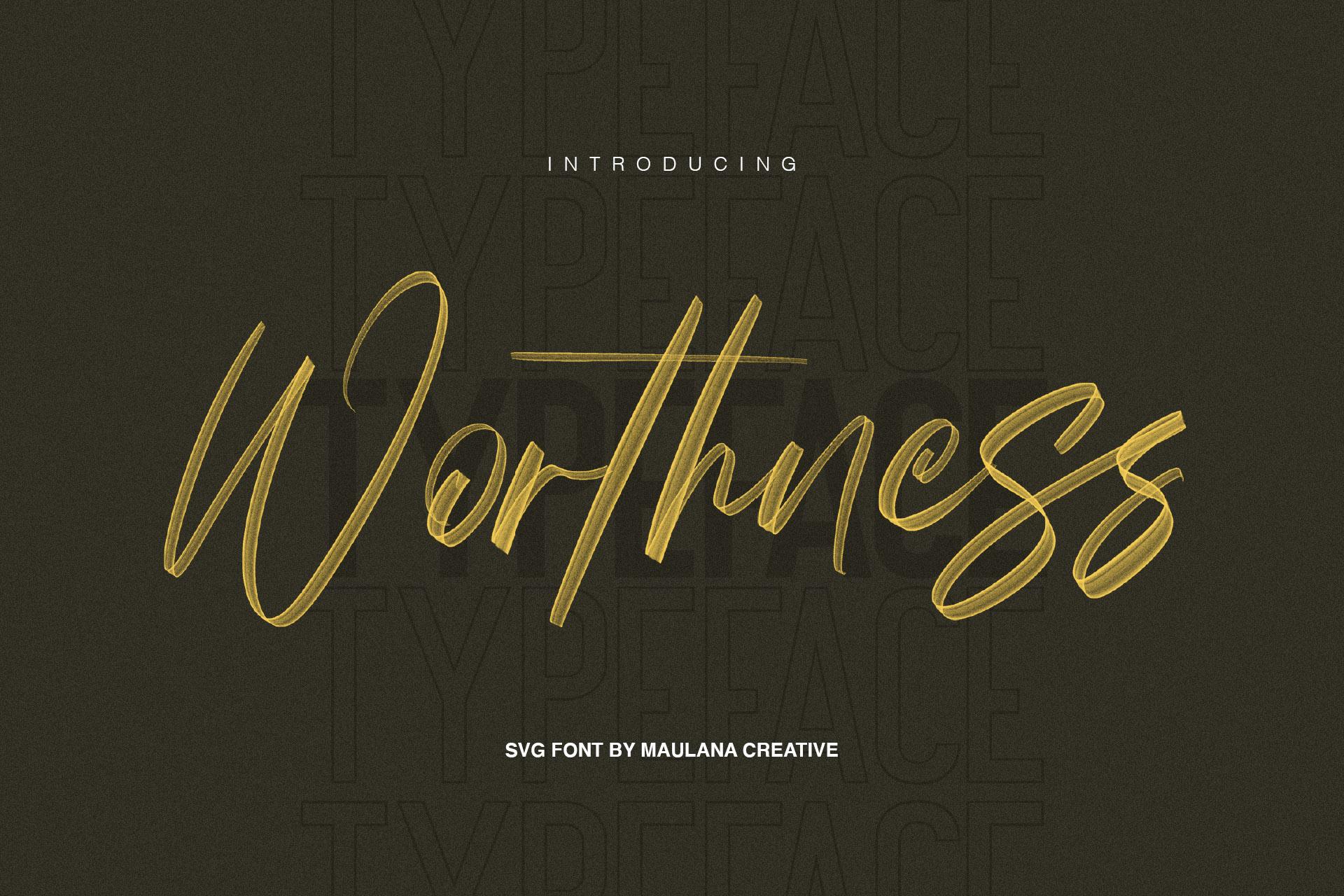 Worthness SVG Brush Font Free Sans example image 1