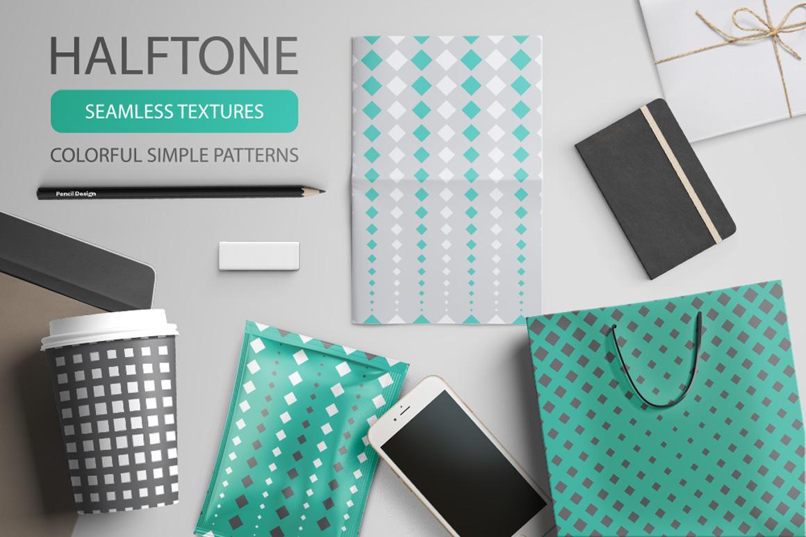 Set of halftone seamless patterns example image 1