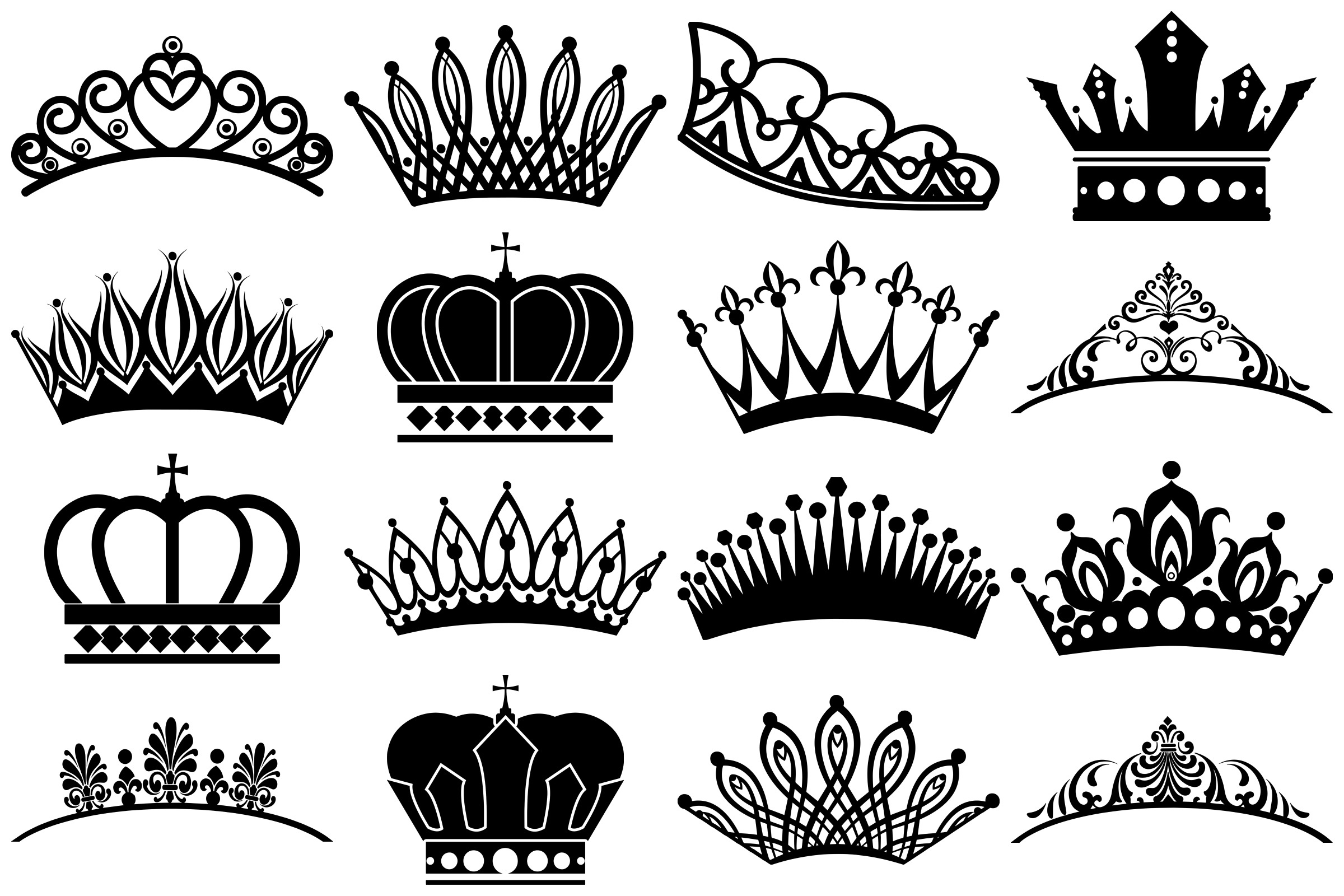 Tiara and Crown Silhouettes AI EPS PNG example image 2