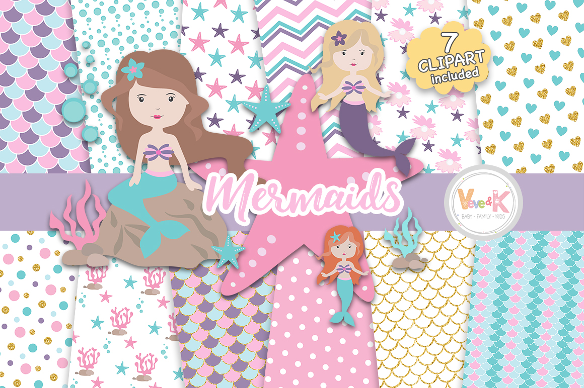Mermaids Clipart and Papers Pack, Mermaids Clipart, Under the Sea Graphics, Ocean Graphics, Mermaid Baby Shower, Mermaid Background Papers example image 1