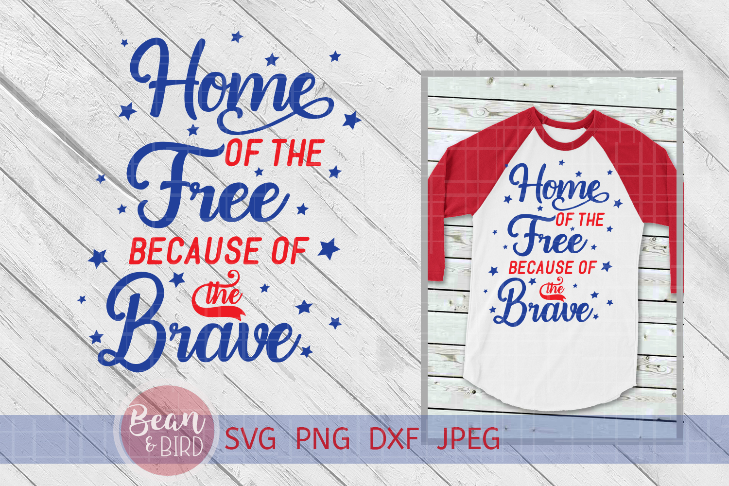 Home of the Free Patriotic Svg example image 1