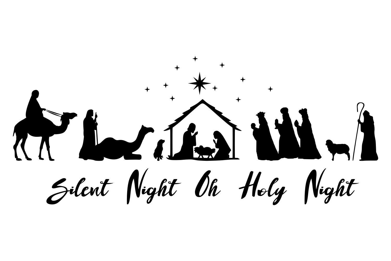 Nativity scene SVG Oh Holy Night sign example image 1