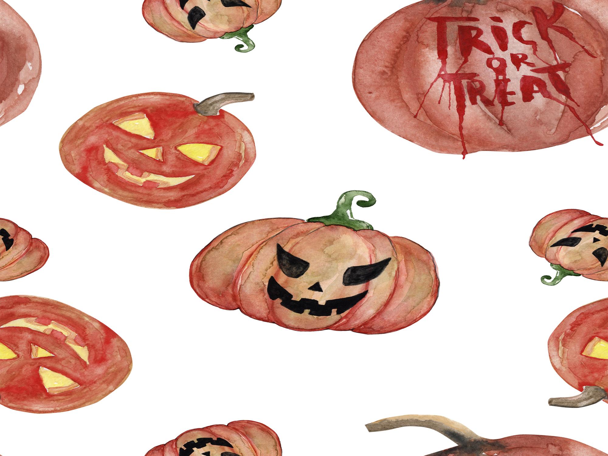 Watercolor Clipart Halloween Bundles with Bats Pumpkins example image 6