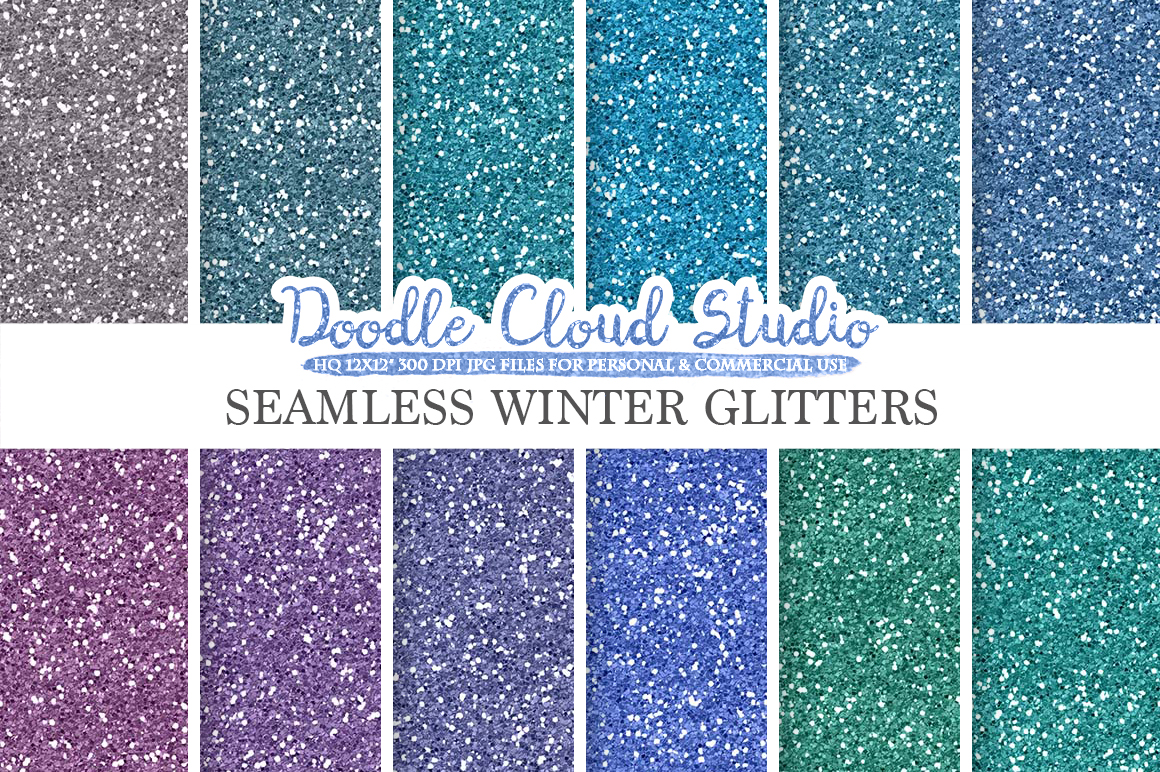 SEAMLESS Winter Glitter digital paper texture, cold frost sparkling Background, frozen sparkles, Instant Download, Personal & Commercial Use example image 1