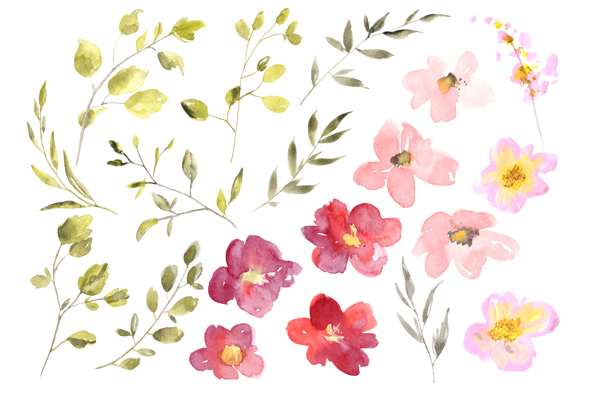 Watercolor red & pink flowers png example image 2