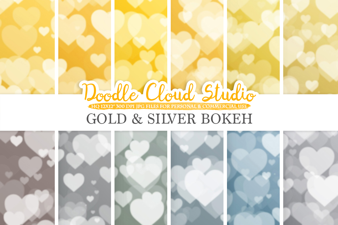 Gold & Silver Hearts Bokeh digital paper, Metallic Bokeh Overlay, Heart Bokeh backgrounds, Instant Download, for Personal and Commercial Use example image 3