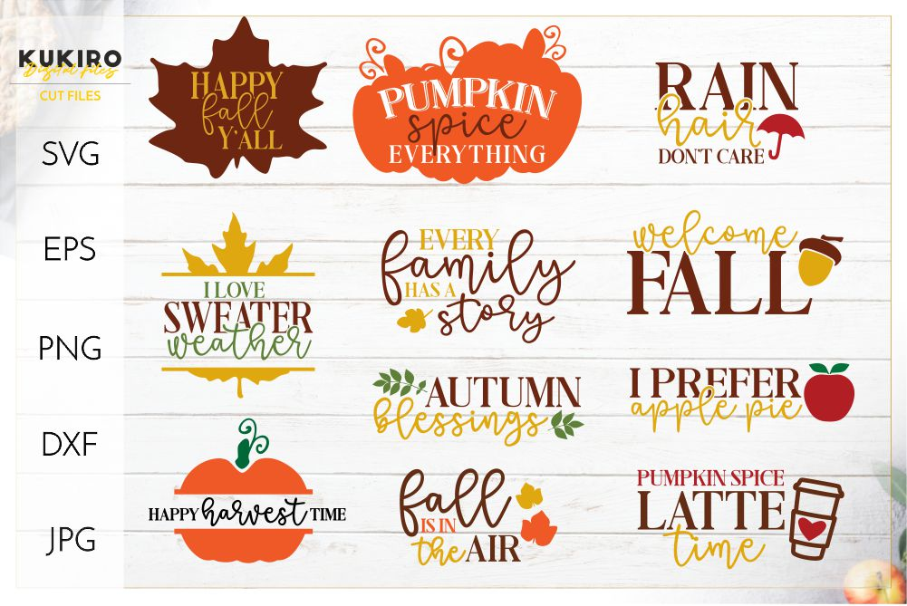 Mini Fall Bundle SVG - Thanksgiving Signs Cut files example image 1