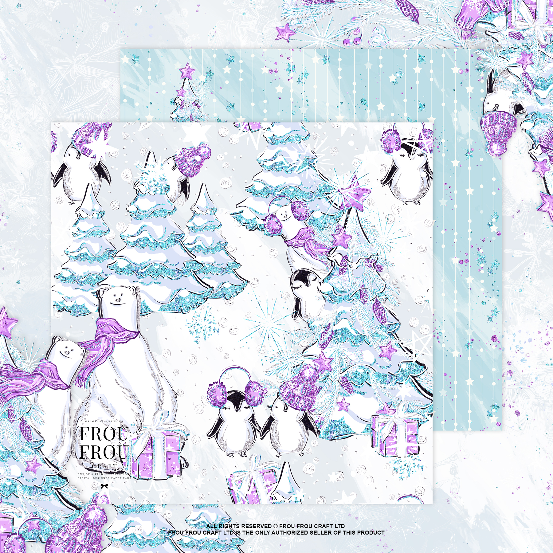 Winter Christmas Tree Penguin Bear Paper Pack example image 4