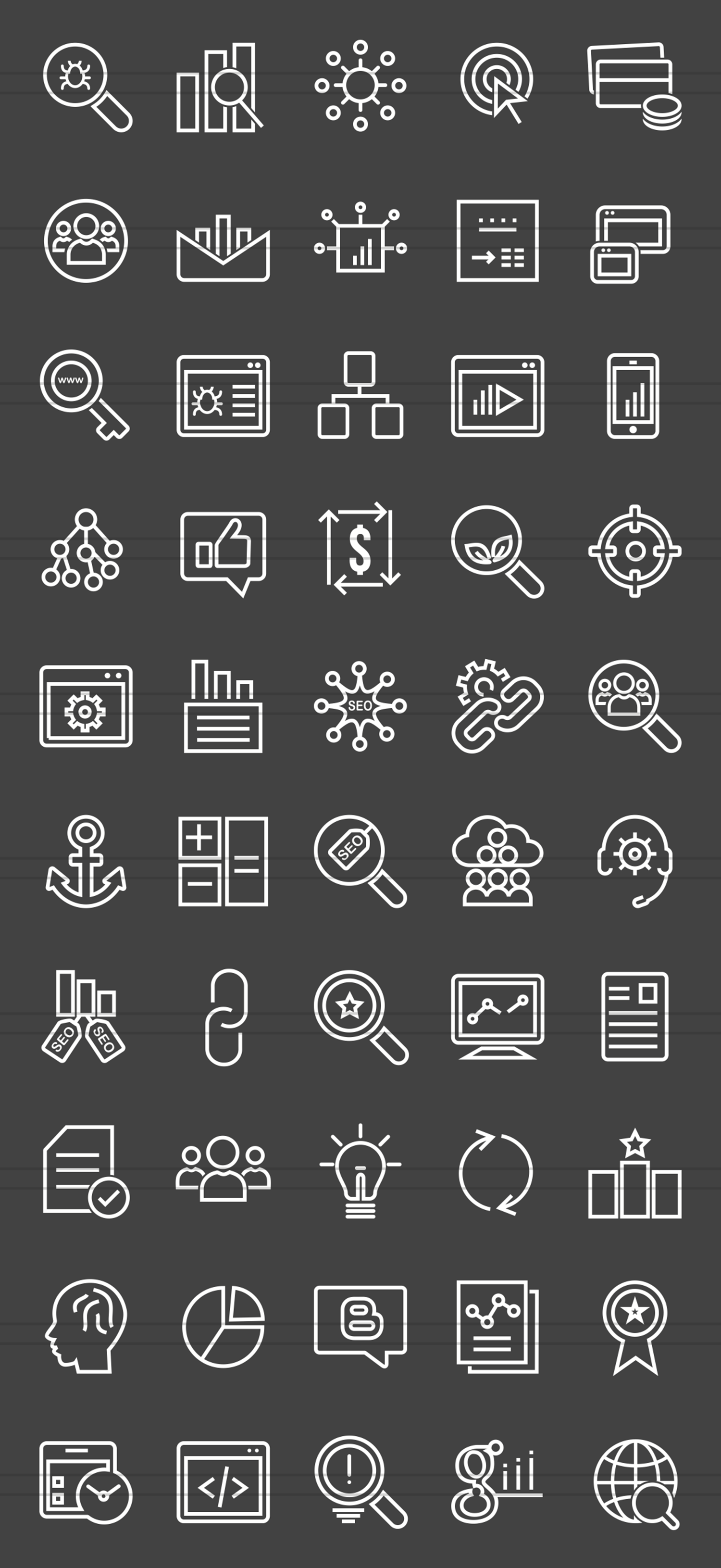 50 SEO Line Inverted Icons example image 2