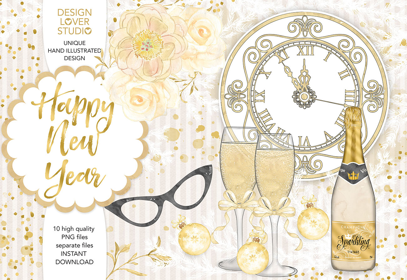 Watercolor Happy New Year design example image 1