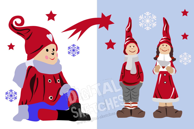 Christmas Cut File Set Elf Gnome Imp Stars Vector Silhouette example image 2