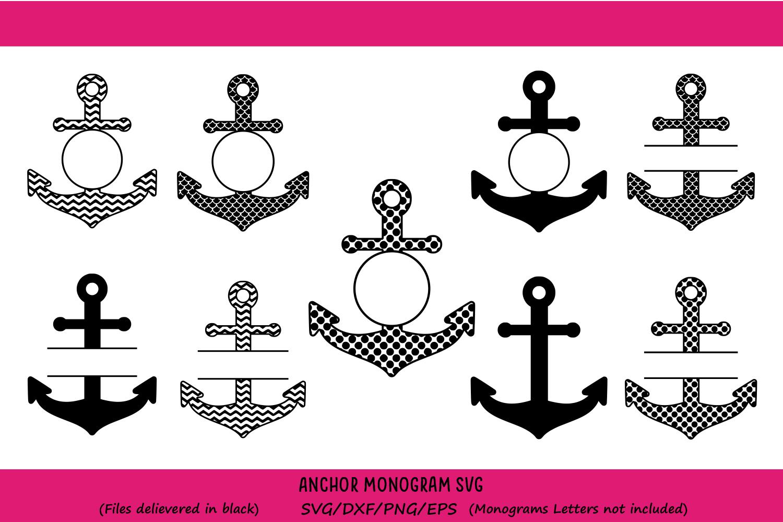 Anchor SVG Monogram Frames Cut Files Vinyl Cutters