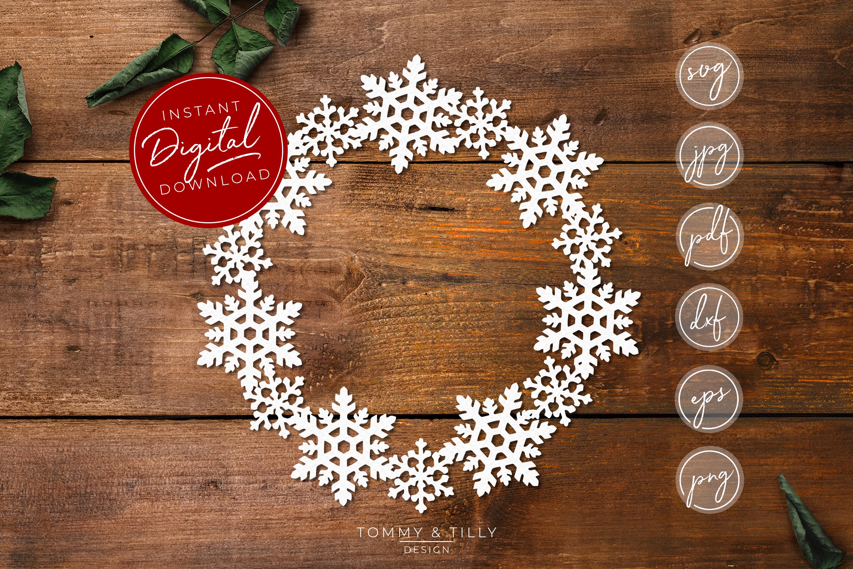 Snowflake Wreath - SVG EPS DXF PNG PDF JPG example image 1