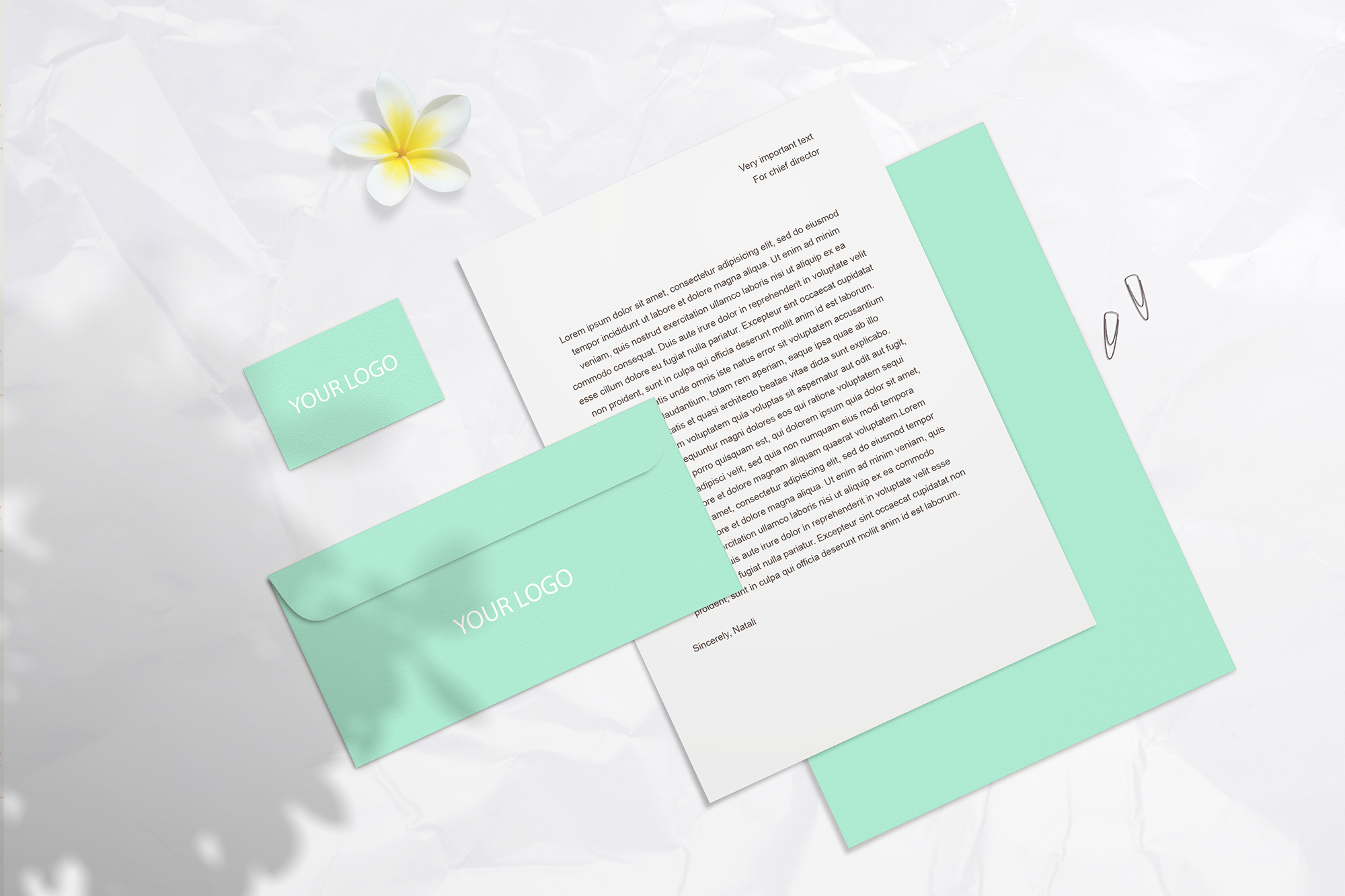 Summer Stationery Branding Mockup with Shadows example image 2