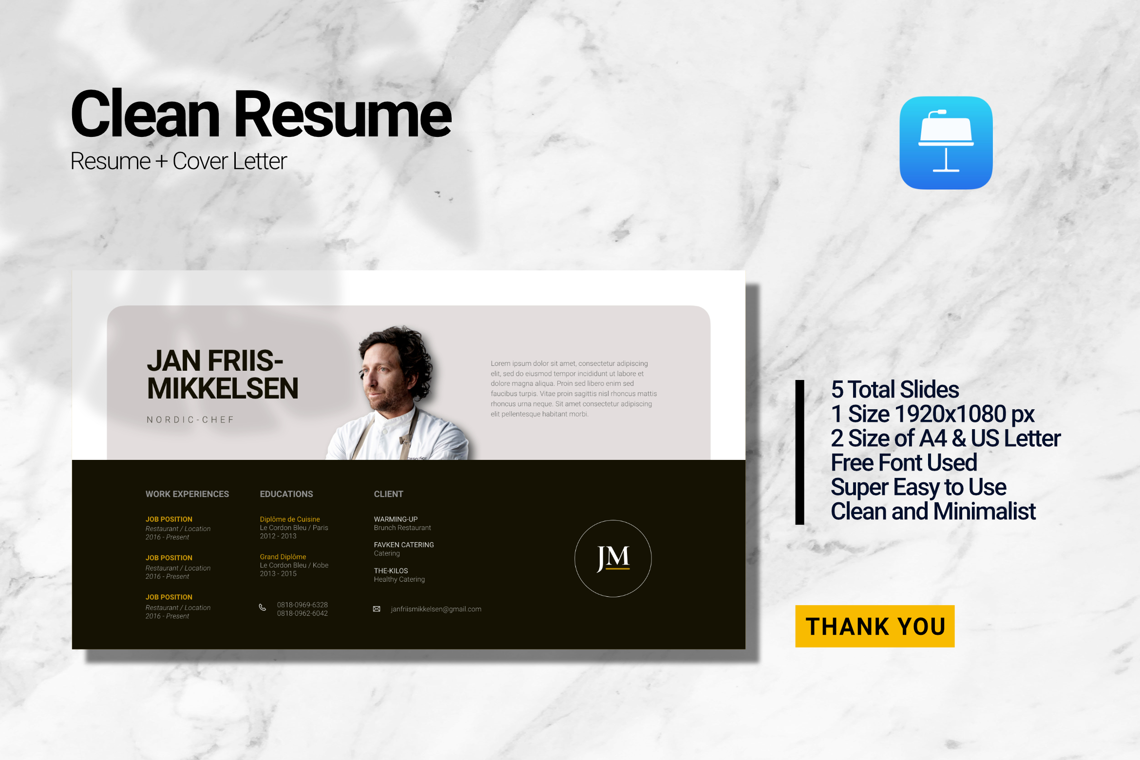 Clean Chef Resume Keynote example image 1