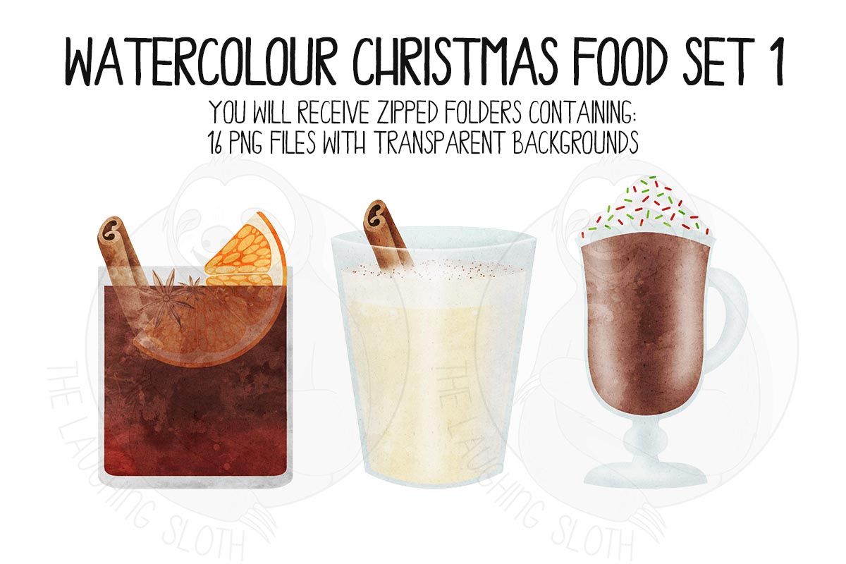 Watercolor Christmas Food Clipart Set 1 example image 5
