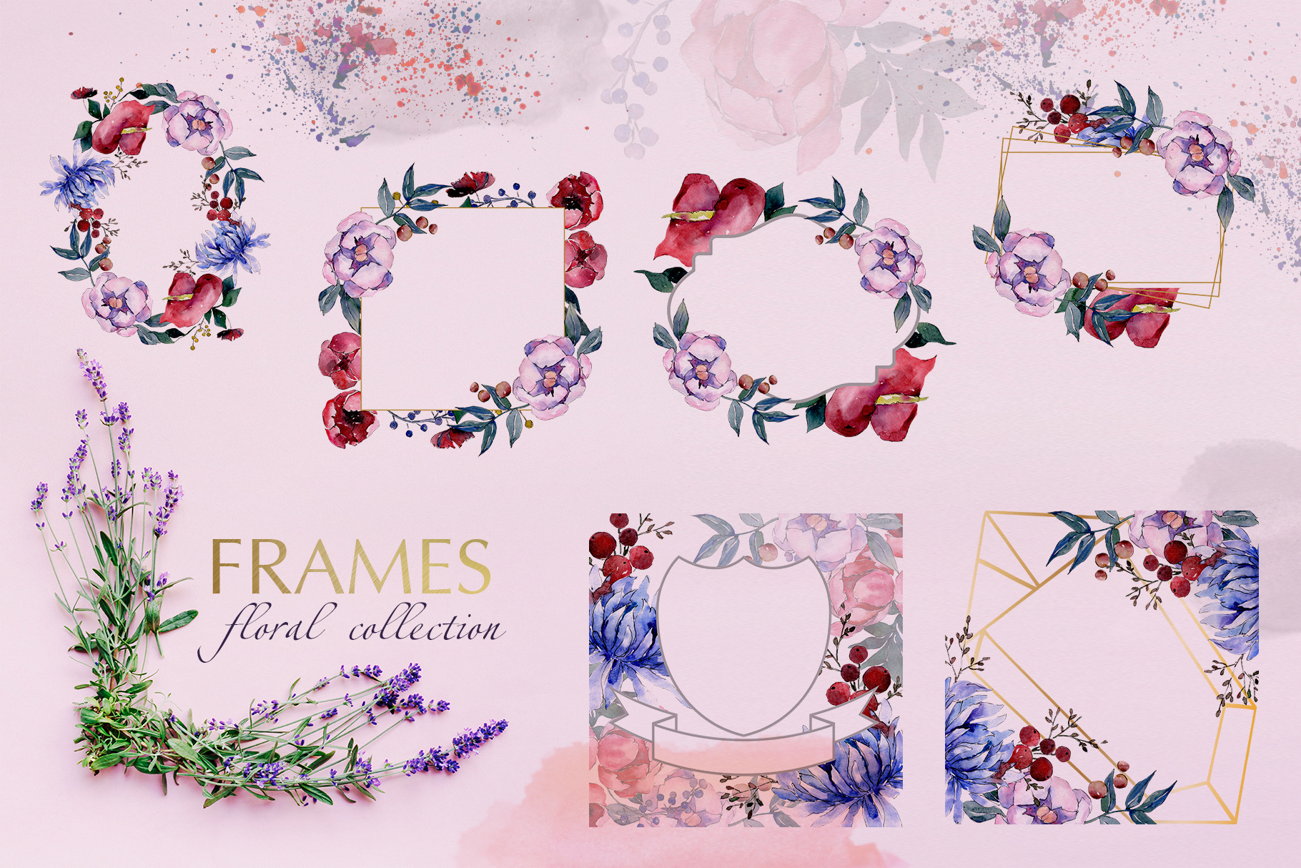 Bouquets with flowers Watercolor png example image 2