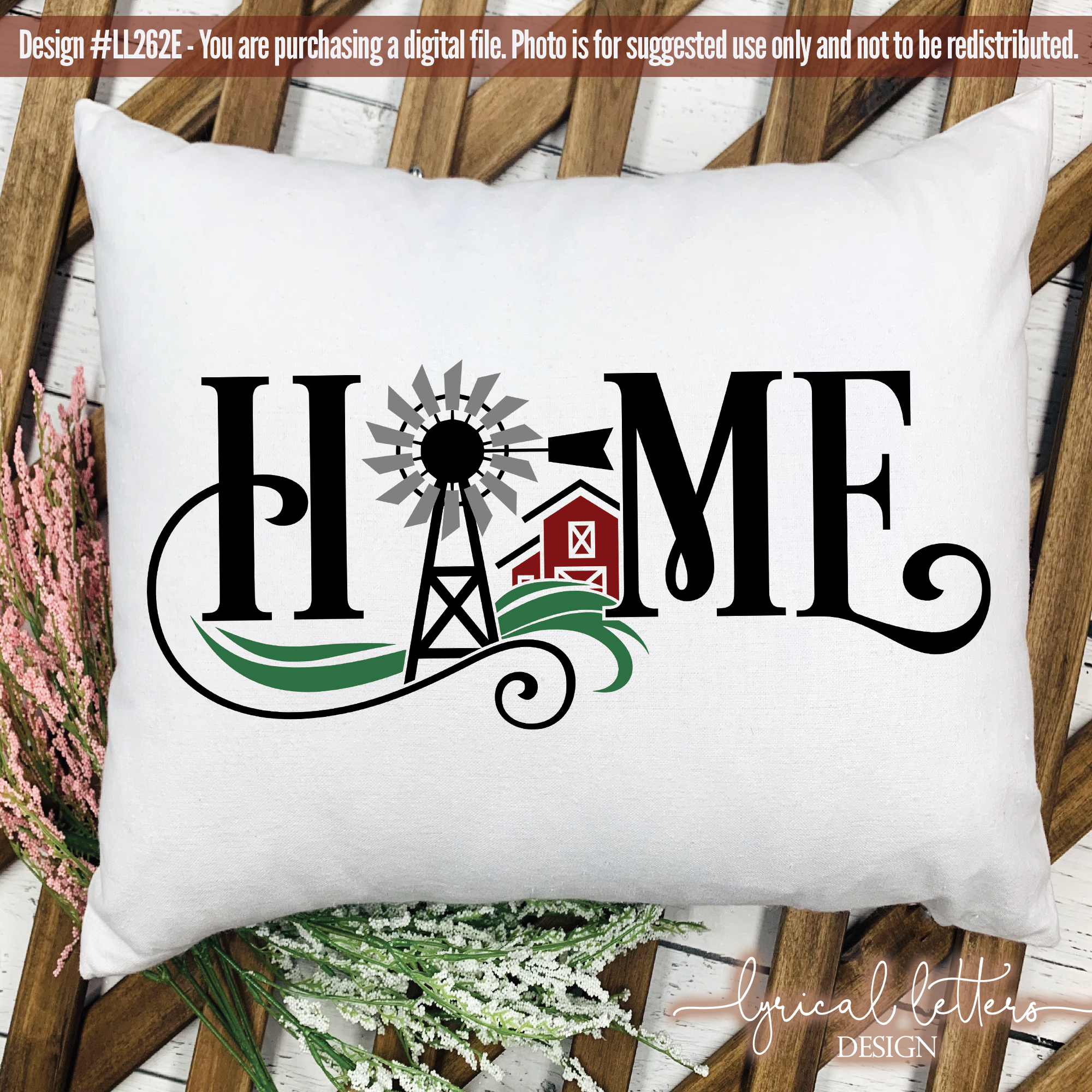 NEW! Farmhouse Home with Windmill and Barn SVG DXF LL262E example image 2