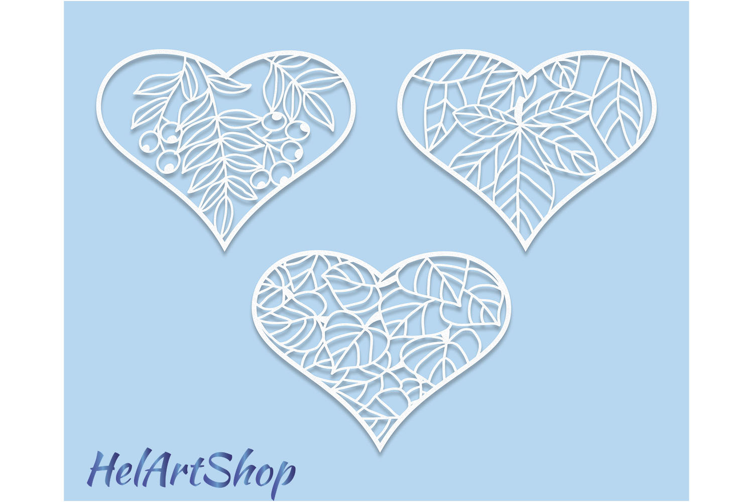 heart with leaves svg design example image 2