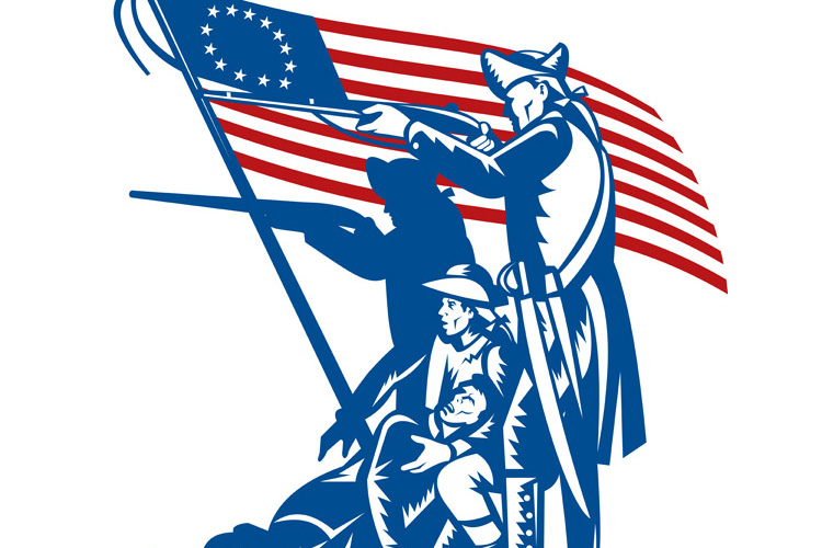 American patriots fighting with Betsy Ross flag example image 1