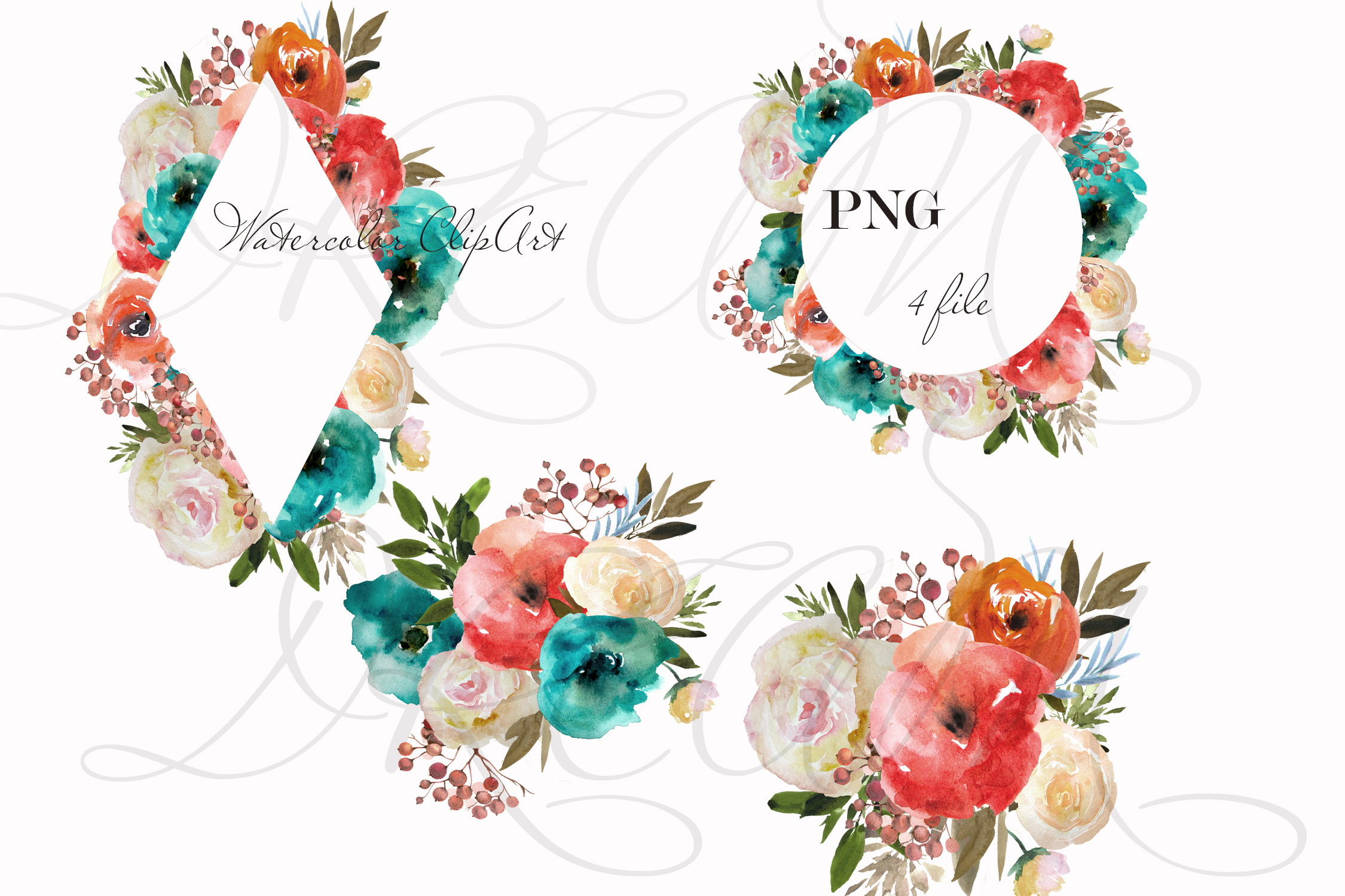 Blue red flowers clipart Watercolor wreath example image 2