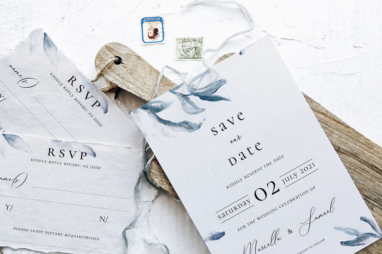 Elegant Blue Watercolor Sprig Wedding Suite example image 3