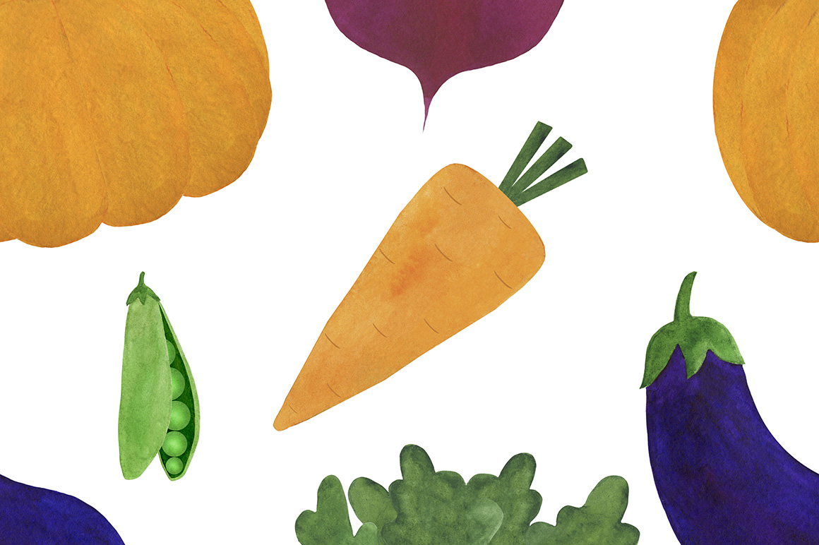 Watercolor vegetables collection example image 11